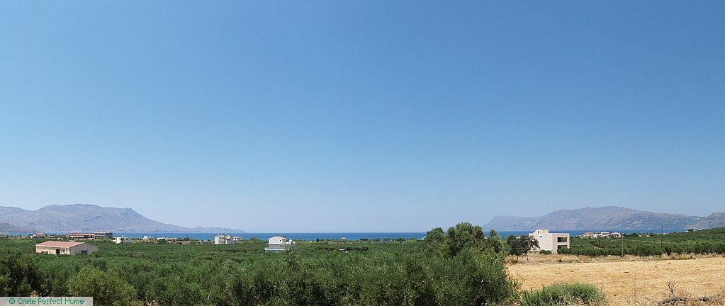 Large level olive grove, sea & rural views