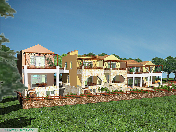 5 part-constructed 2-bed houses with shared pool, sea views