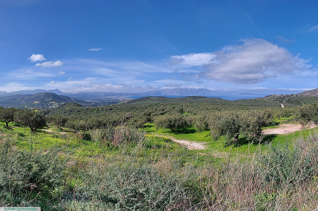 Large plot with olive trees, fantastic sea & mountain views